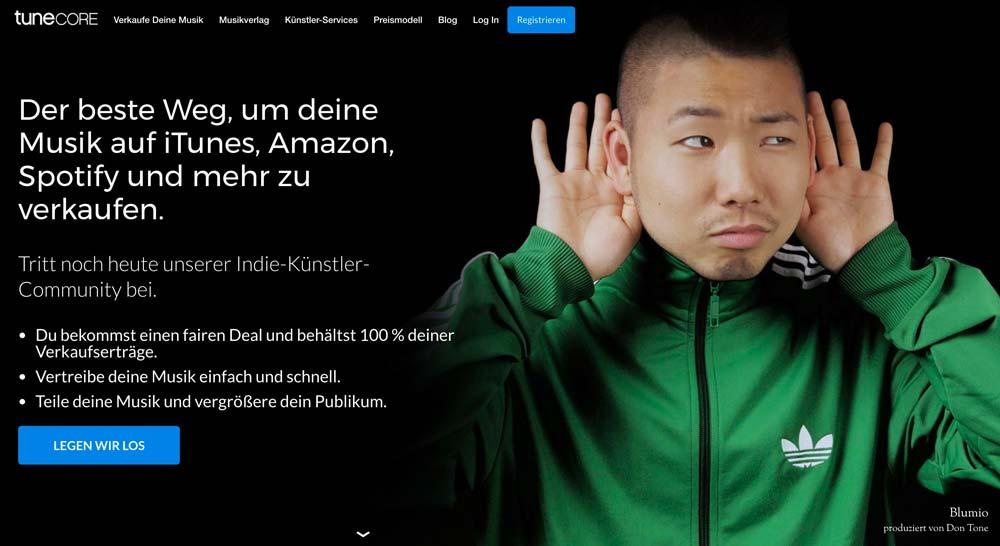 tunecore-Webseite