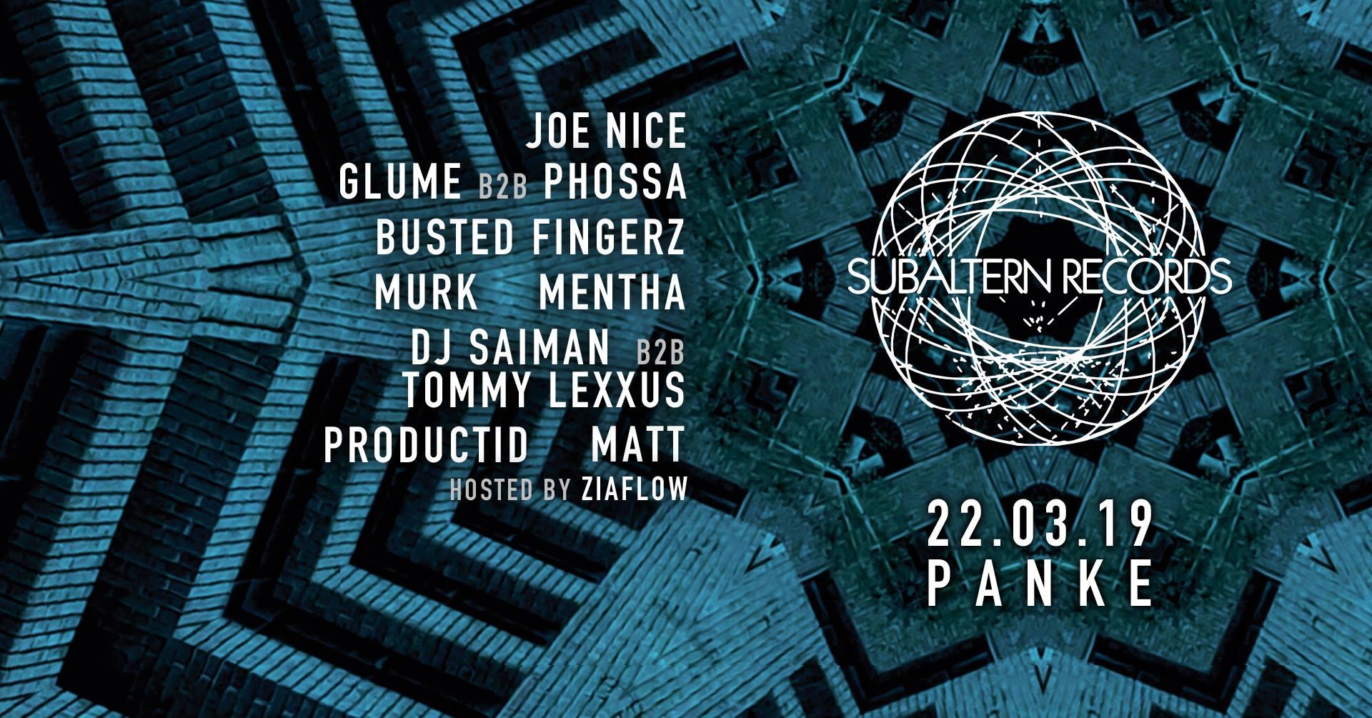 Subaltern Records: Joe Nice, Glume & Phossa + More – Dubstep/140