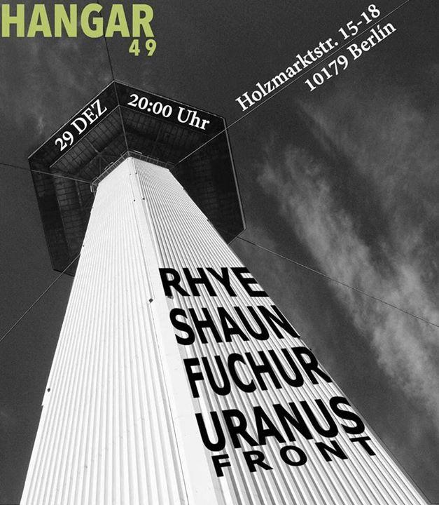 Jahresabschluss Fuchur, Rhye, Shaun und Uranus Front im Hangar49
